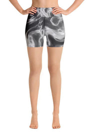 Dark Marble Shorts-women's yoga shorts-Eadness Life