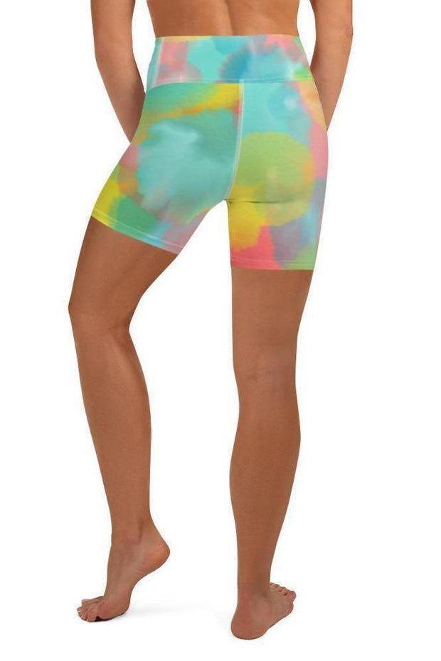 Hot Coral Reef Shorts-women's yoga shorts-Eadness Life