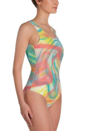 Hot Coral Swirls One-Piece Swimsuit-women's one-piece swimsuit-Eadness Life