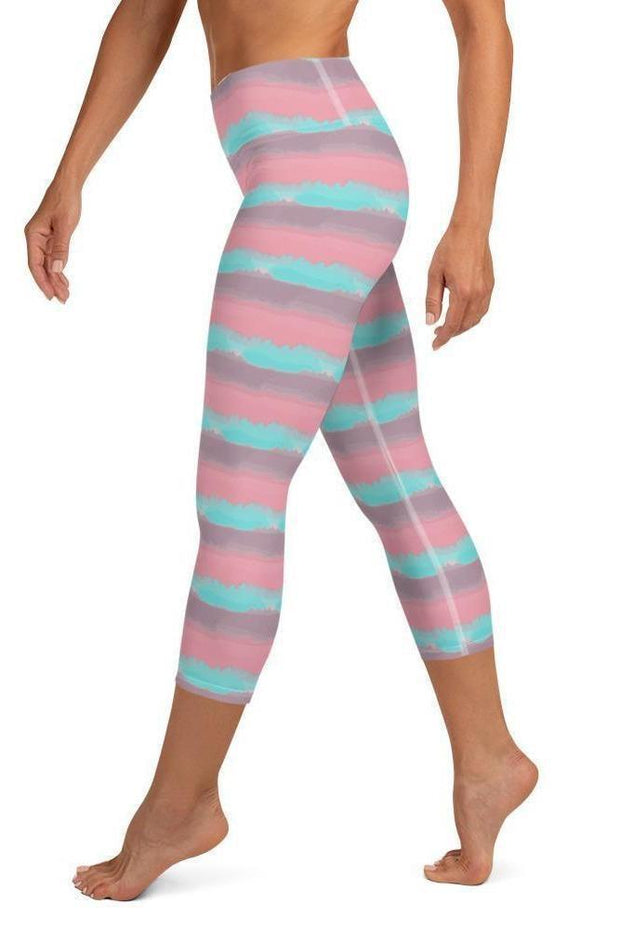 Maldives Watercolors Capri-women's yoga capris-Eadness Life
