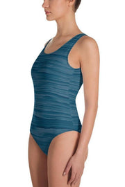 Nautical Blue Oil Swimsuit-women's one-piece swimsuit-Eadness Life