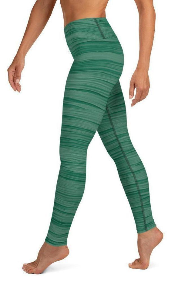 Seaweed Green Oil Leggings-women's yoga leggings-Eadness Life