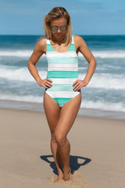 Under the Bay Stripes Oil Swimsuit-women's one-piece swimsuit-Eadness Life