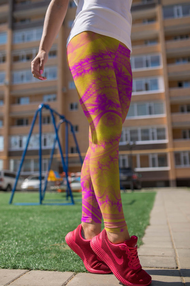 Yellow Magic Leggings-women's yoga leggings-Eadness Life