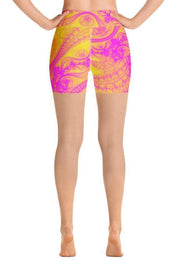 Yellow Magic Shorts-women's yoga shorts-Eadness Life