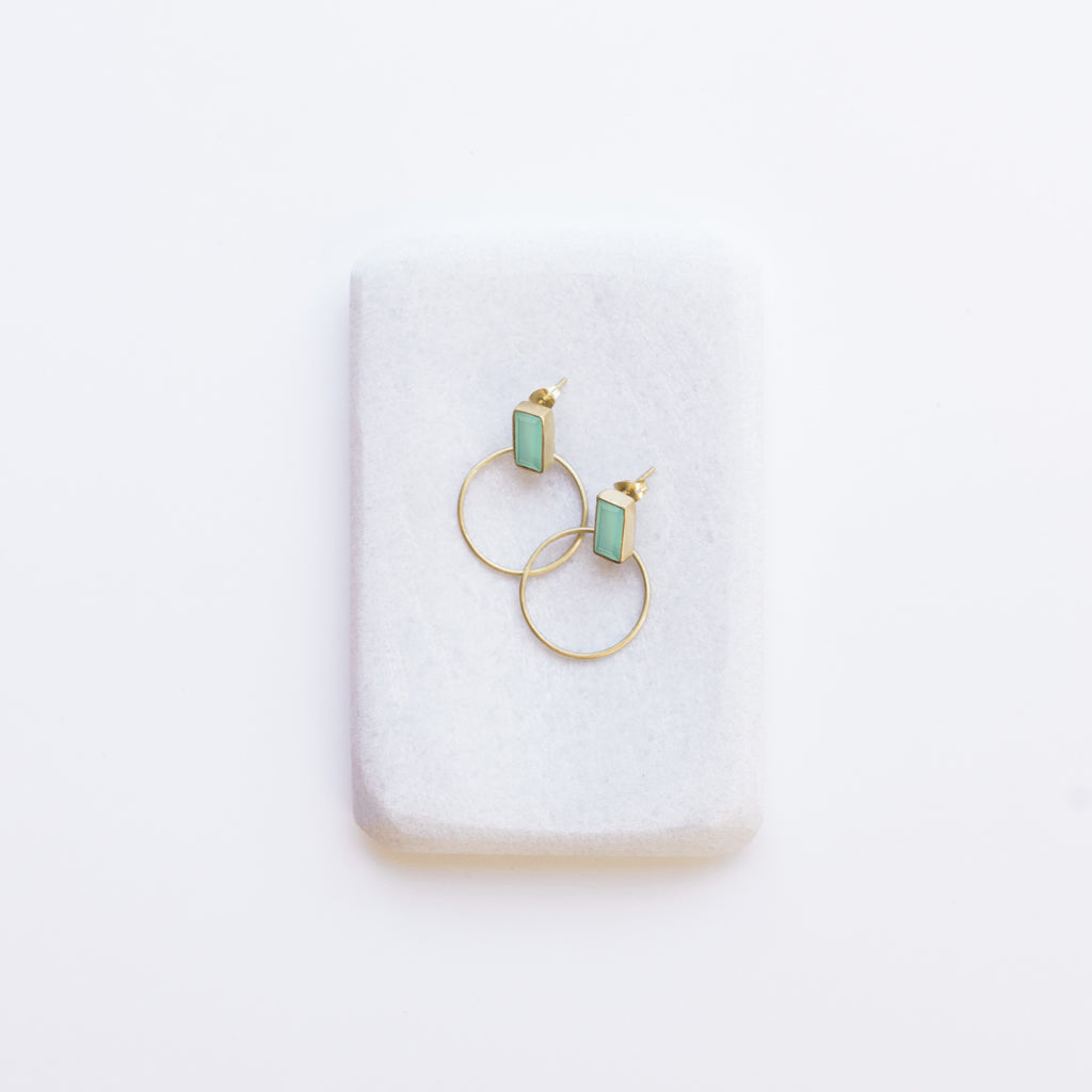 Baalee Gold Earrings - Aqua Chalcedony