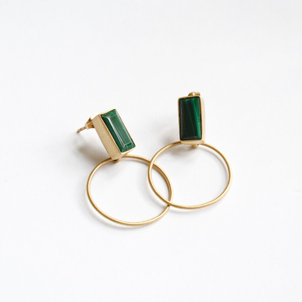 Baalee Gold Earrings - Malachite