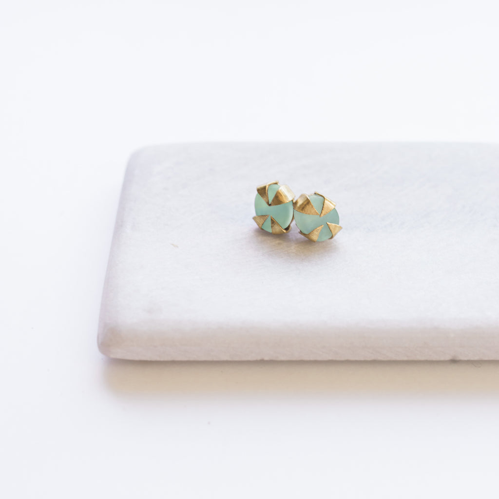 Java Stud Earrings - Aqua Chalcedony