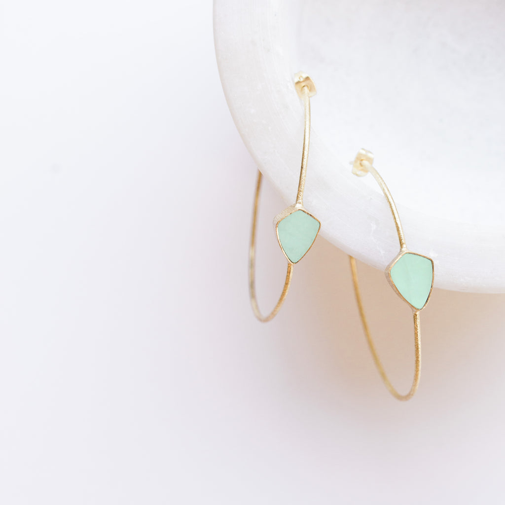 Sona Gem Hoop Earrings - Aqua Chalcedony