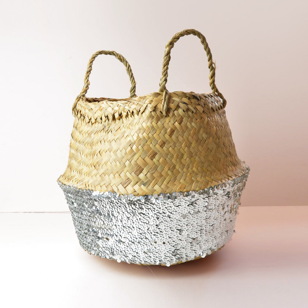 Toulouse Sequin Basket - Silver