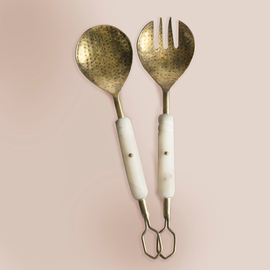 Ukrit Marble Salad Servers