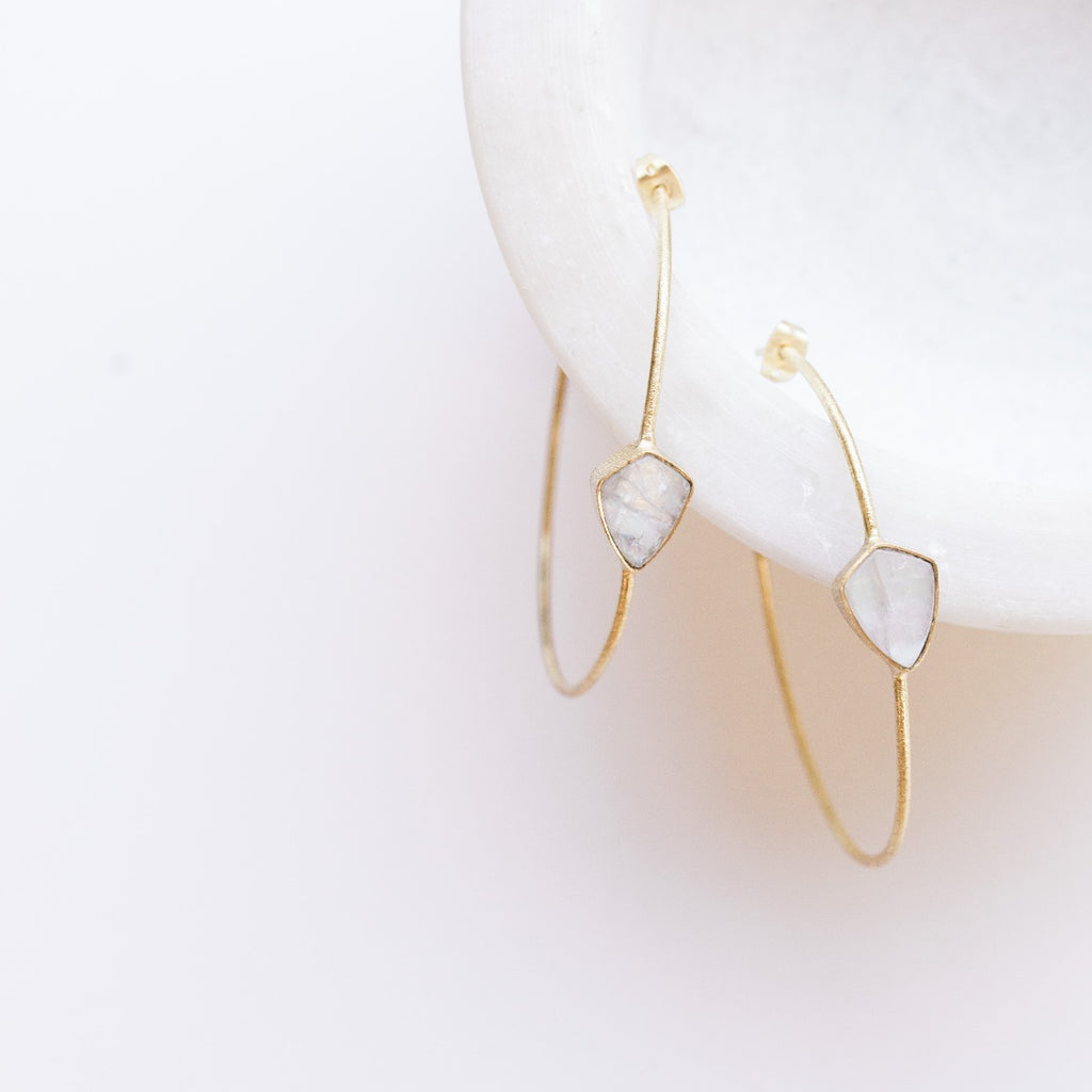 Sona Gem Hoop Earrings - Moonstone
