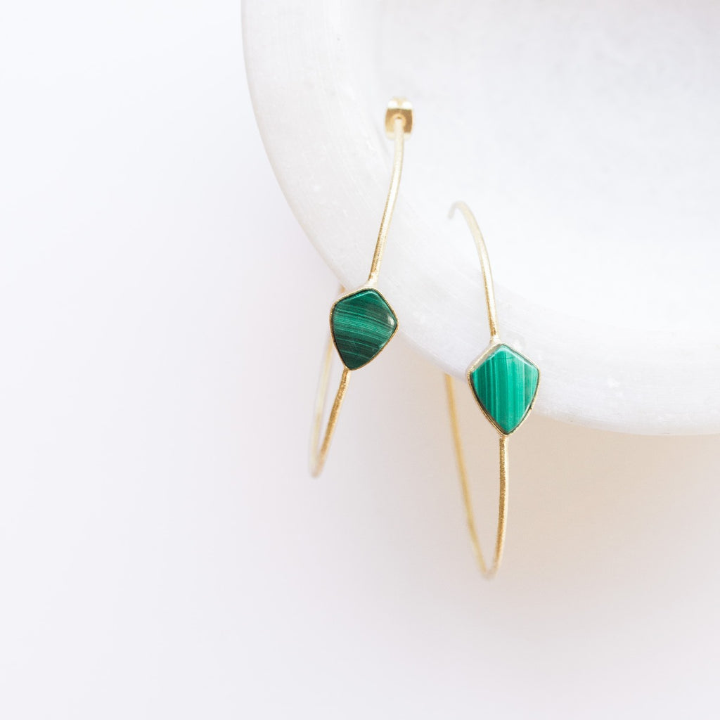 Sona Gem Hoop Earrings - Malachite