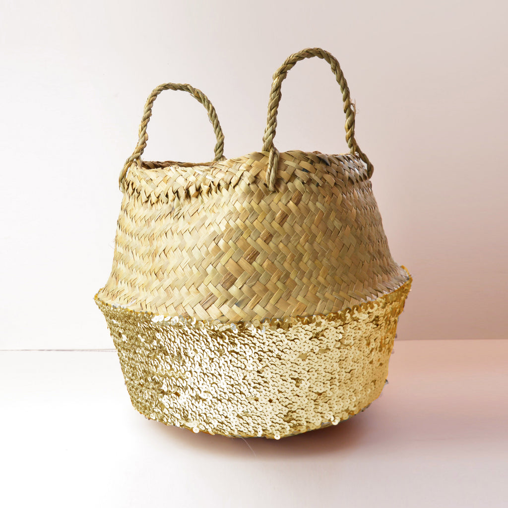 Toulouse Sequin Basket - Gold