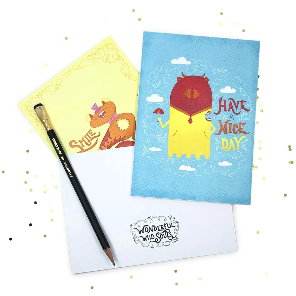 Cute Greeting Cards | Set of Three (3) | Smile | Enjoy the Little Things | Have a Nice Day | Wonderful Wild Souls | Cute, Quirky, Curious Creature Illustration