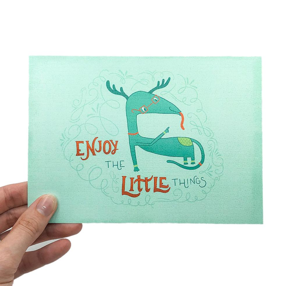 Louie | 5x7 Art Print | Postcard | Enjoy the Little Things | Wonderful Wild Souls | Quirky, Curious Creature Illustration