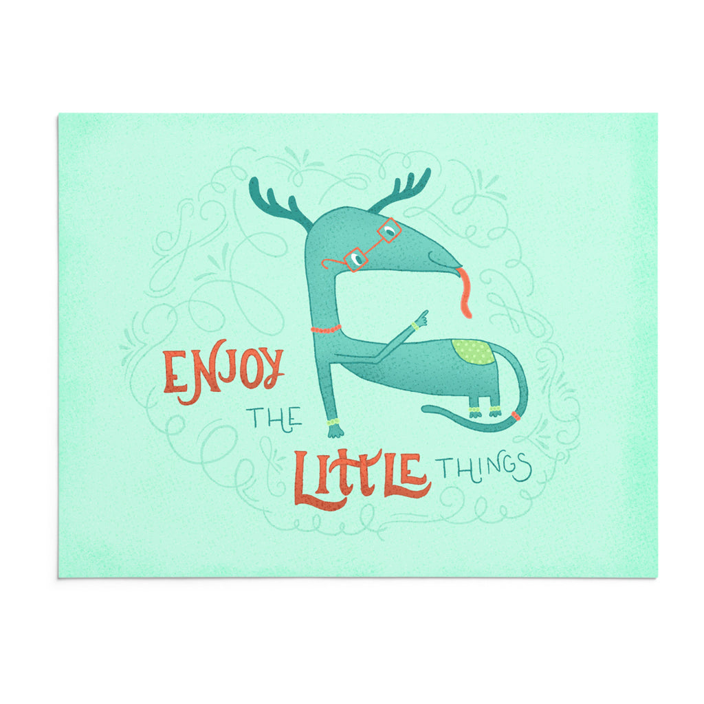 Louie | 8x10 Art Print | Poster | Enjoy the Little Things | Wonderful Wild Souls | Cute, Quirky, Curious Creature Illustration