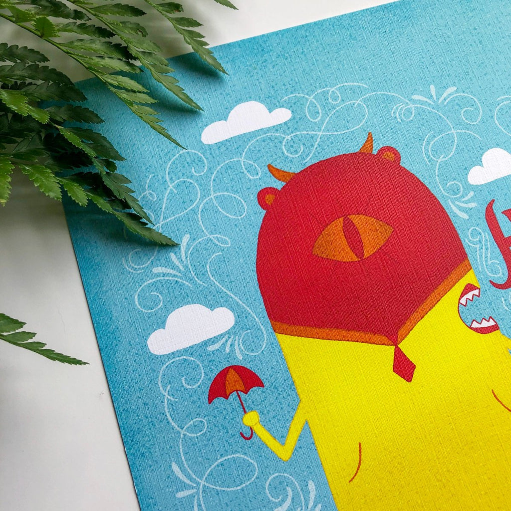 Rainy Day Betty | 5x7 Art Print | Note Card | Have a Nice Day | Wonderful Wild Souls | Quirky, Curious Creature Illustration