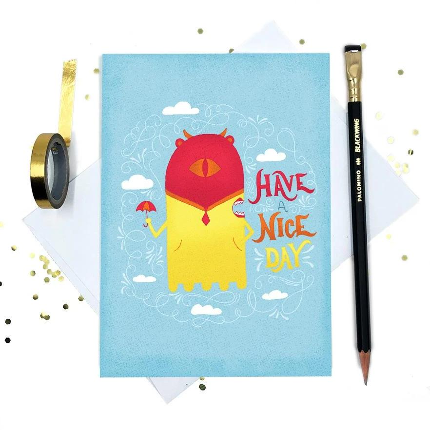 Rainy Day Betty | Cute Greeting Card | Have a Nice Day | Wonderful Wild Souls | Cute, Quirky, Curious Creature Illustration