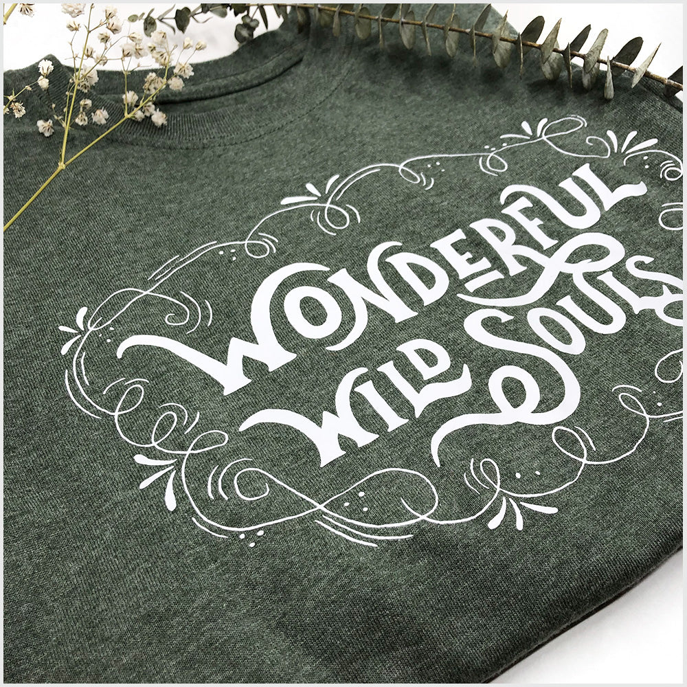 Unisex Short Sleeve T Shirt | Heather Leaf Green | Join the Wild | Wonderful Wild Souls | Cute, Quirky, Curious Creature Illustration