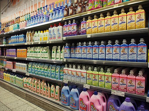 An aisle of fabric softeners in the grocery store