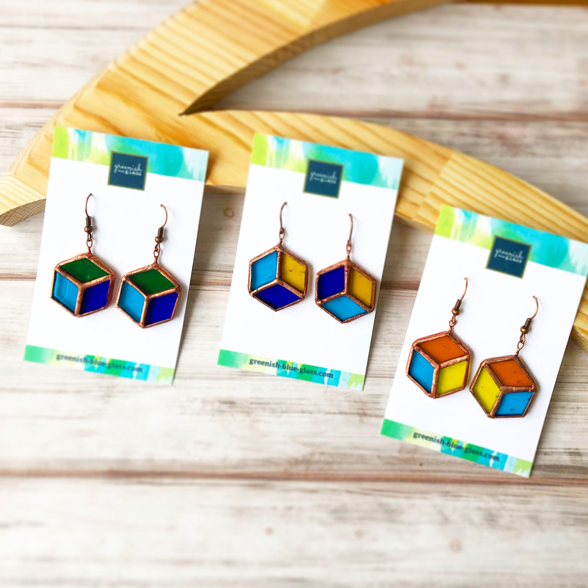 Cube shaped earrings ( orange, light blue, and yellow)