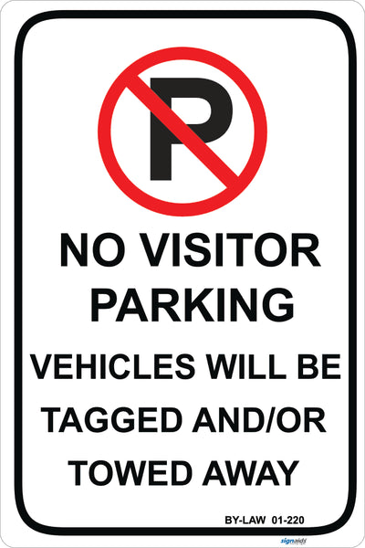 No Visitor parking By-law sign