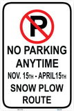 No parking Snow plow route