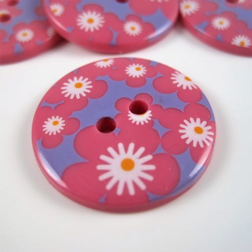 Pink Fashion Button with Geometric Design