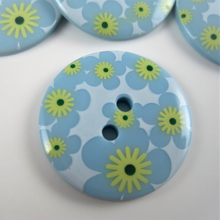 Blue  Fashion Button with Geometric Design