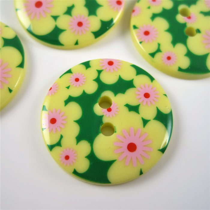 Yellow Fashion Button with Geometric Floral Design