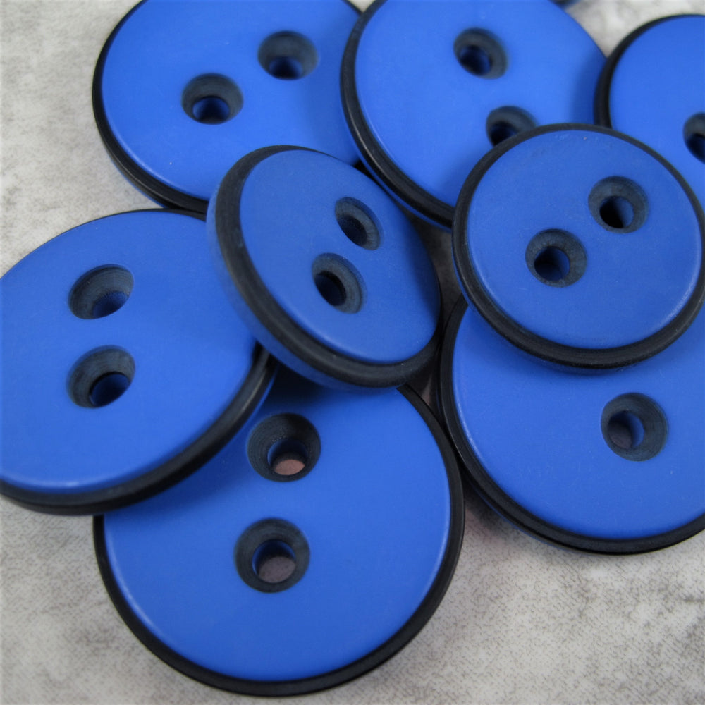Royal Blue button with black edging