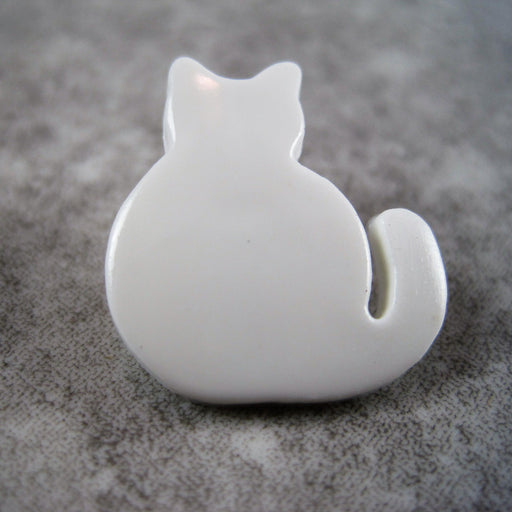 Childs Cat Button White