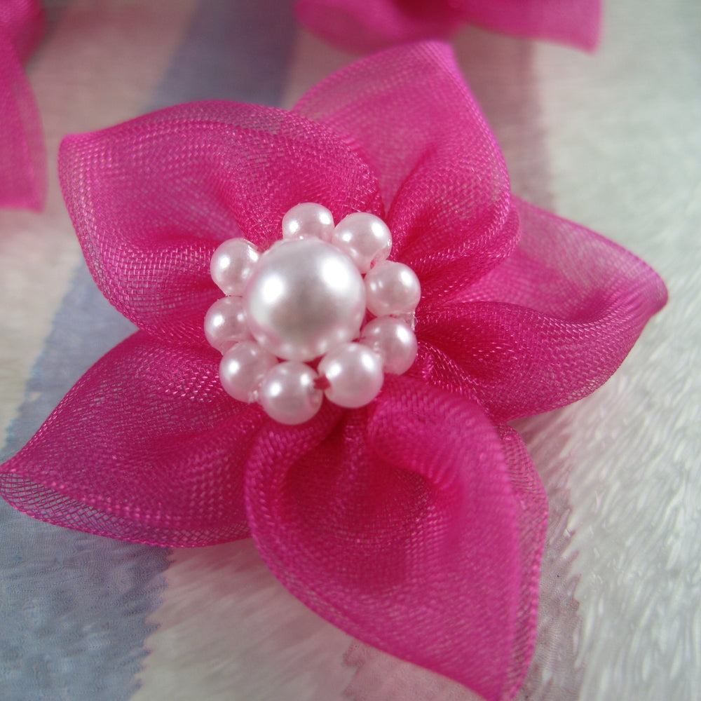 Sheer Star Bows - Cerise