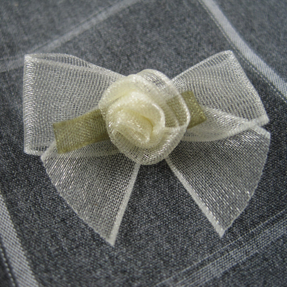 Sheer bow with Cream rose bud
