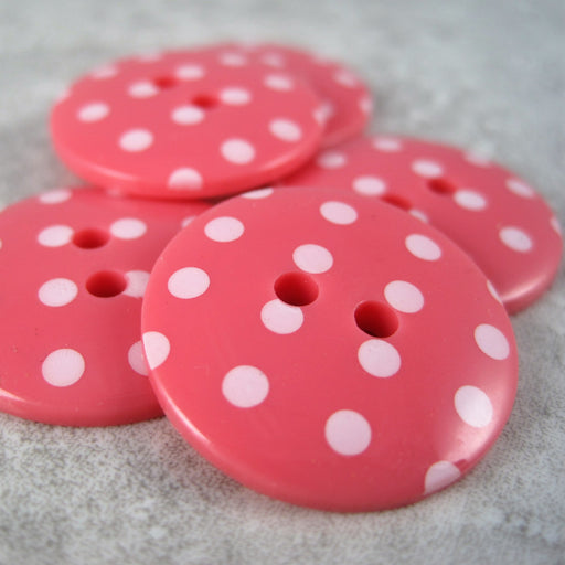 Coral Pink Spotted Button