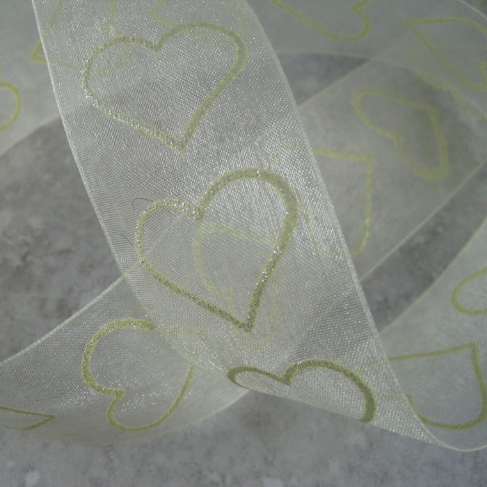 Sheer Cream ribbon with a heart motif