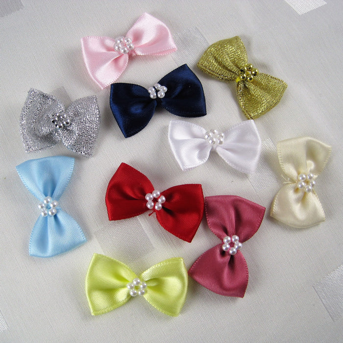Bow tie shaped satin bows