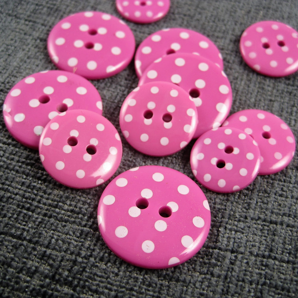 Cerise Pink Spotted Button