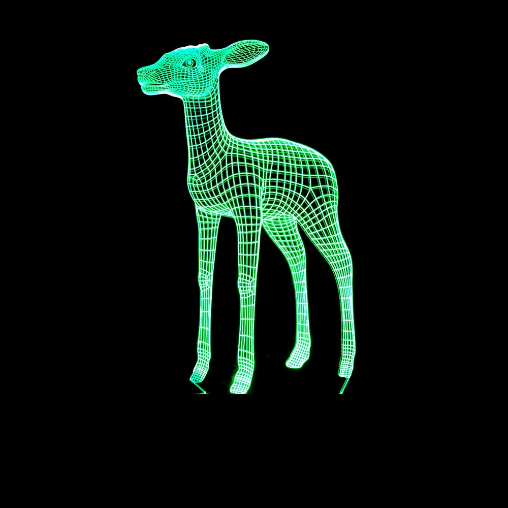 7 Color Changing USB Home Bedroom Decoration Animal Deer Table Lamp 3D LED Night Lights For Bedside Sleep Light Fixture Gifts