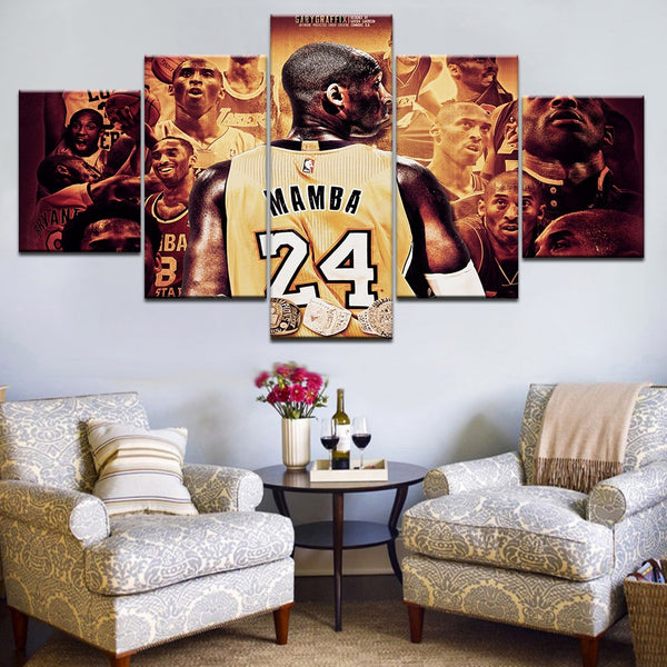 Modular Picture Canvas Wall Art Bedroom 5 Pieces Basketball Player Sports Painting Print Kobe Bryant Poster Home Decor Framework