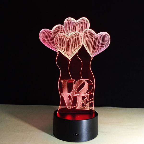 3D Led Creative Usb Letter Love Heart Balloon 7 Colorful Visual Art Table Lamp Decoration Night Light Bedroom Lighting Fixture