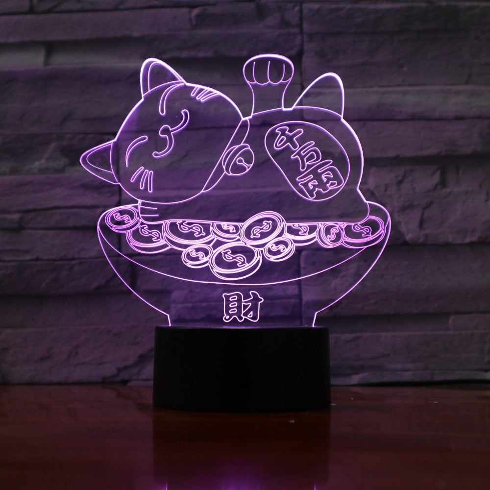 3D Led USB Creative Fortune Cat 7 Colorful Visual Artwork Table Lamp For Home Decoration Night Light Bedroom Lighting Fixture