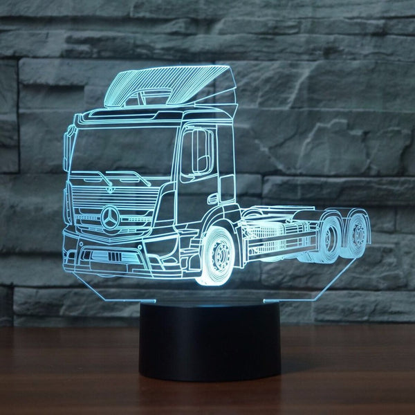 3D Night Light 7 Colors Change Truck LED Desk Table Lamp Artwork Home Child For Bedroom Sleeping Decoration Holiday Party Gifts