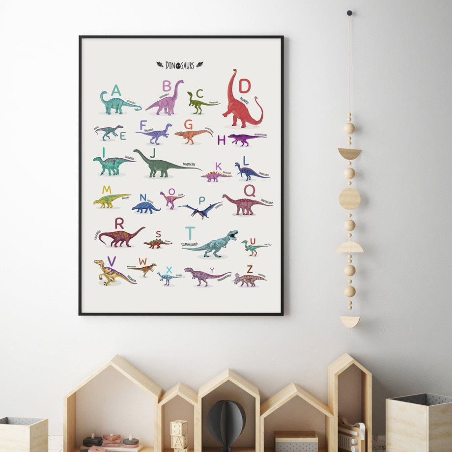 Wall Art Canvas Painting Dinosaur English Alphabet Animal Art Print Nordic Poster Prints Wall Pictures Baby Kids Room Home Decor