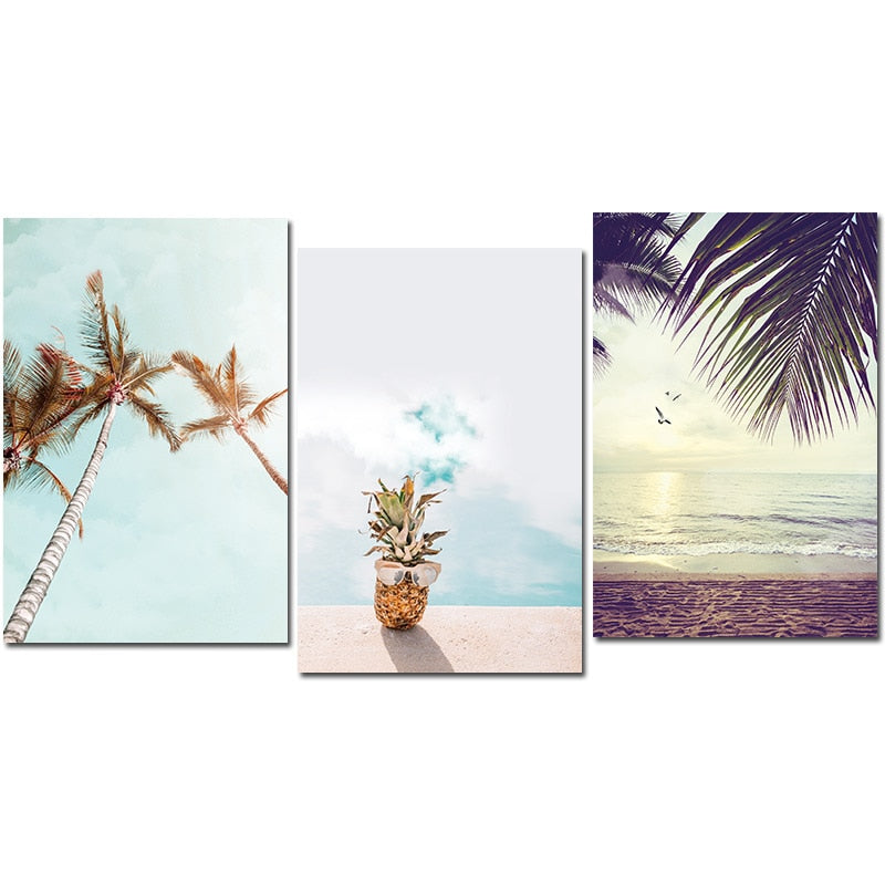 Nordic Decoration Pineapple Poster and Print Beach Sea Landscape Wall Art Canvas Painting Decorative Pictures Home Decoration
