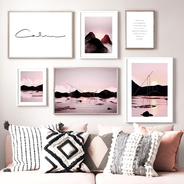 Home Decor Nordic Posters Prints Pink Sun Mountain River Cloud Painting Canvas Landscape Modular Pictures Living Room Wall Art