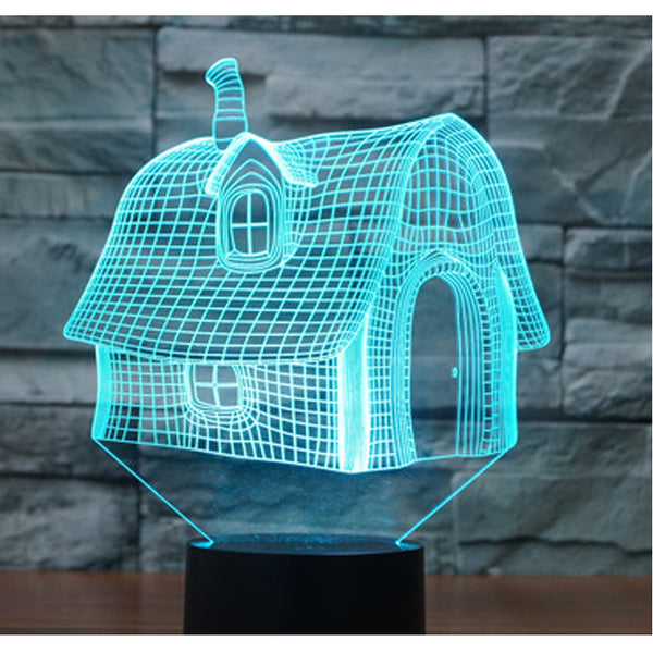 3D Led Bedside Night Light Shape House Usb Table Lamp 7 Color Change Home Decoration For Bedroom Sleep Lighting Fixture Gifts