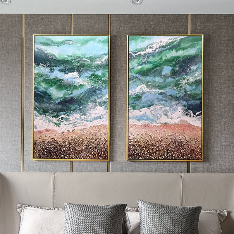 Abstract Seascape oil painting hand painted canvas wall art original texture blue art beach pictures for living room home decor
