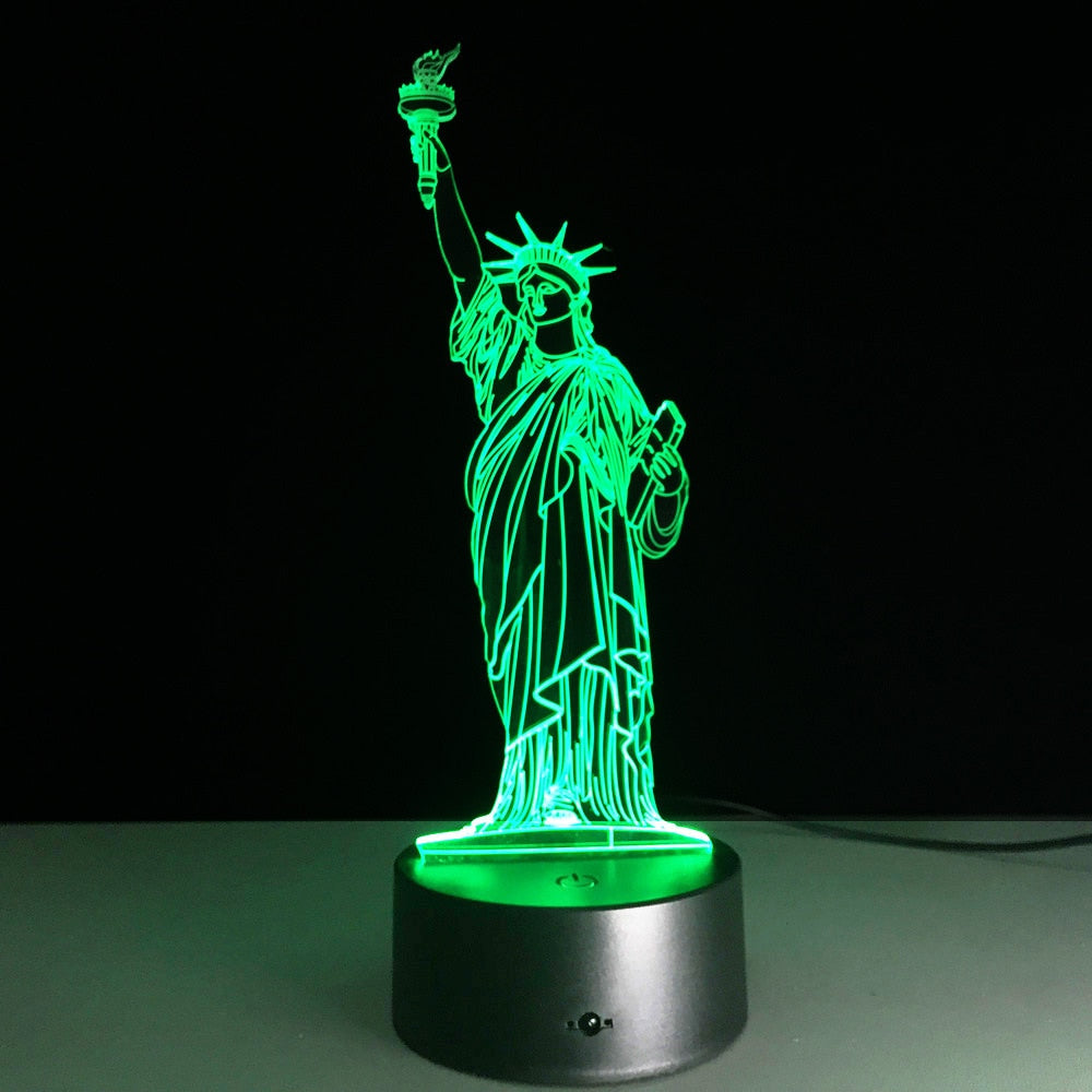 Night Light 3D Led Bedside Statue of Liberty Shape Usb Table Lamp 7 Color Change Home Decor Bedroom Sleep Lighting Fixture Gifts